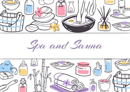 Spa and sauna, ladies health and beauty vector doodles illustration poster. Spa concept for manicure, pedicure and sauna, health club supplies, tools and text.