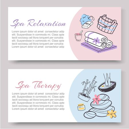 Spa relaxation for ladies health and beauty vector doodles illustration two banners. Spa and sauna relax, health club vouchers. Relaxing procedures for women.
