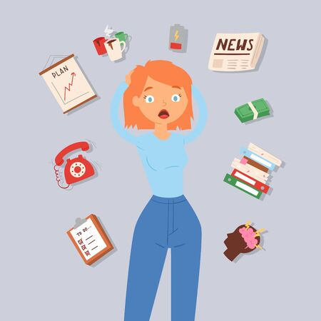 Woman in stress and panic vector illustration. Lady surrounded by calendar, shedule, brain storm and money problems, telephone calls. Concept for job stress at work.