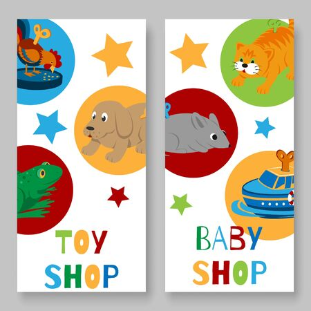 Toy shop for kids vertical banner vector illustration. Toyshop banners for baby toys sale or discount. Animal clock work cat, dog, duck and frog isolated on white background. 向量圖像
