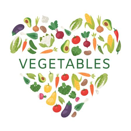 Love to vegetables vector illustration. Healthy life, heart shape with vegetables poster. Avocado, corn, squash, cucamber and tomato, eggplant, carrot and pepper. Organic food.