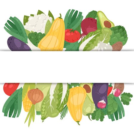 Vegetables banner with white space vector illustration. Healthy vegan lifestyle and organic food. Veggies poster with avocado, corn, squash, cucamber and tomato, eggplant, carrot and pepper. 向量圖像