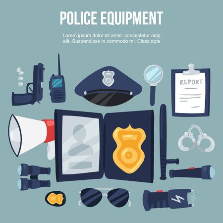 Police security equipment vector illustration set. Handcuffs, bulletproof vest, electroshocker and truncheon, badge, weapons and other police service objects poster.