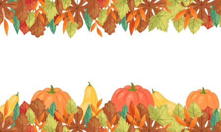 Autumn leaves and pumpkins horizontal banner, vector illustration. Fall season harvest pumpkin vegetable, orange maple foliage poster for autumn leaves themes design. Imagens - 133832541