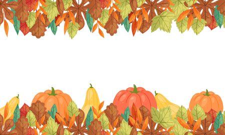 Autumn leaves and pumpkins horizontal banner, vector illustration. Fall season harvest pumpkin vegetable, orange maple foliage poster for autumn leaves themes design.