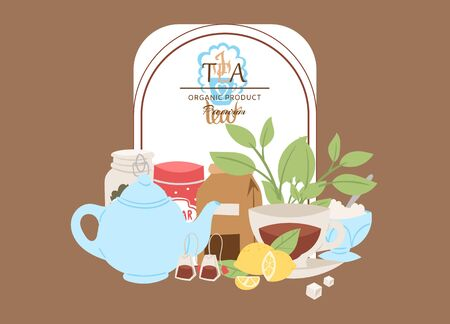 Organic tea vector illustration. Poster for cafes and restaurants. Herbal organic tea. Invitation for tasting. Banner with teapot, kettle, sugar and herbal leaves with lemon.