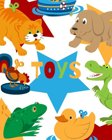 Clockwork toys with key vector illustration. Mechanic toyshop poster for baby toys with mechanism for kids. Animal clock work cat, dog, duck and frog isolated on white background.
