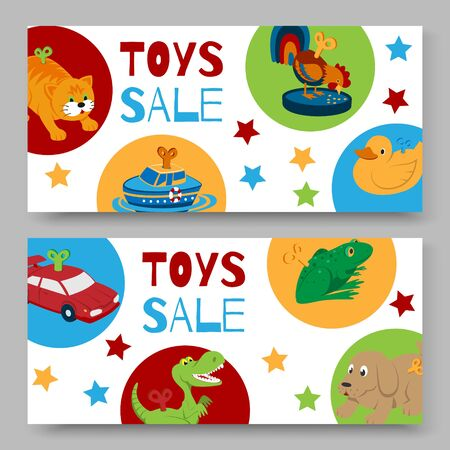 Sale of clockwork toys with key banners or voucher, vector illustration. Mechanic toyshop discount for baby toys with mechanism for kids. Animal clock work cat, dog, duck and frog.