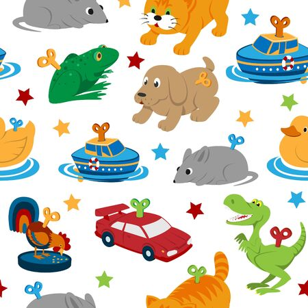 Clockwork toys with key vector seamless pattern. Mechanic toys for baby with mechanism for kids. Animal clock work cat, dog, duck and frog isolated on white background.