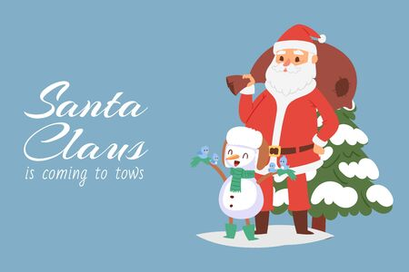 Santa Claus and snowman with birds vector cartoon illustration. Merry Christmas and happy new year companions, Santa with bag full of christmas toys and fir.