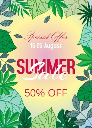 Summer sale tropical poster with palm leaves, vector illustration. Jungle leaf and typography. Floral tropical summer sale exotic background. Hawaii style design. Banque d'images - 133832586
