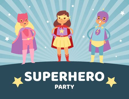 Superhero kids in costumes party vector illustration, masquerade invitation. Children dressed in superhero costume and masks. Cute little superhero boy and girls on retro background poster.