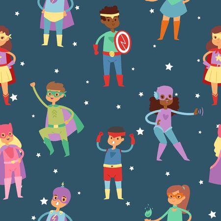 Superhero kids in costumes vector seamless pattern. Children dressed in super hero costume for masquerade, cartoon characters. Cute little superhero kids collection. Stock Illustratie