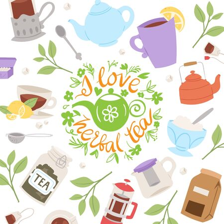 Tea party collection, vector illustration background. Cup of tea on spring background, herbs, teapot and teakettle with text i love herbal tea. Card, poster, party invitation design.