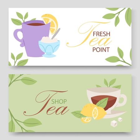 Tea party vector illustration, two horizontal banners. Cup of tea, herbs and lemon slice. Card, voucher for cafe or tea party invitation design Vectores