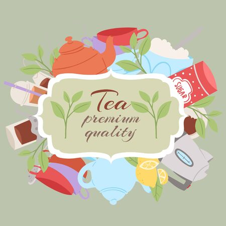 Green tea vector illustration. Poster for cafes and restaurants. Organic herbal beverage. Invitation for green tea tasting. Frame with teapot, kettle, sugar and herbal leaves with lemon. Banque d'images - 133832607