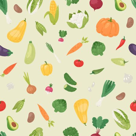Organic vegetables vector seamless pattern. Healthy garden eco vegetables. Avocado, corn, squash, cucamber and tomato, eggplant, carrot and pepper. Organic food.