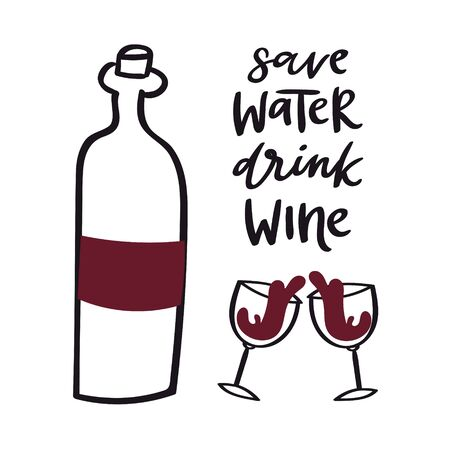 Wine doodle style vector illustration including bottle, glasses with wine-colored liquid and cork. Red vino doodle isolated on white with save water, drink wine quote. Ilustração