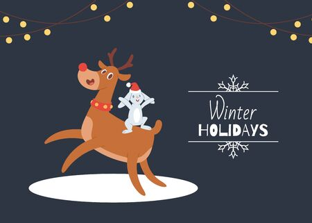 Cute cartoon reindeer with antlers and rabbit in santa hat vector illustration. Winter holidays and merry christmas card. Christmas reideer and hare.