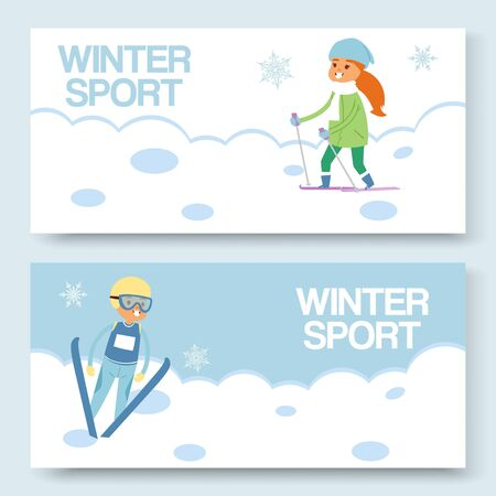 Skiing and winters sports vector banners set. Cartoon illustration of skier girl on snowy hill and ski-jumper sportsman riding on snow. Freestyle skiing and ski jumping.