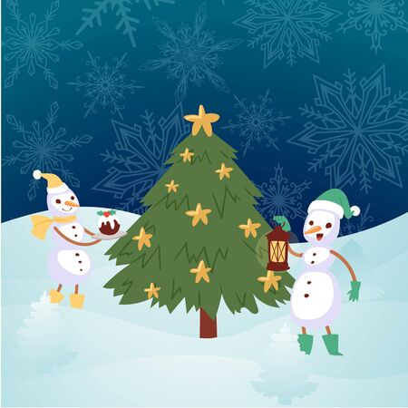 Winter landscape with snowmen and christmas fir tree cartoon vector illustration. Snowman with scarf, cake, lantern and snowflakes. Winter snowy holidays and merry christmas card.