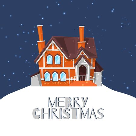 Winter country house on snowy landscape and merry christmas quote vector cartoon illustration for cards or poster. Forest cottage or mountain chalet. Little house on snowing background by wintertime.
