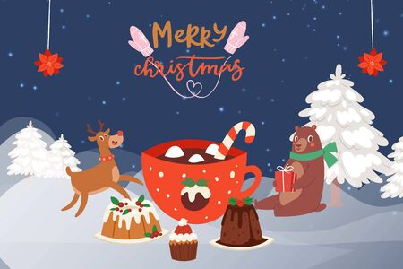 Christmas Party in the winter forest with cartoon reindeer, bear in scarf and christmas cakes, sweets and mug of hot chocolate. Winter fairy tale party in snowy forest. For posters and winter events.