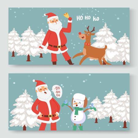 Cartoon Santa Claus, indeer and snowman for Christmas and New Year greeting vector illustration. Happy Santa Claus saying ho, ho with snowy fir tree, christmas snowman two banners set. Vector Illustration