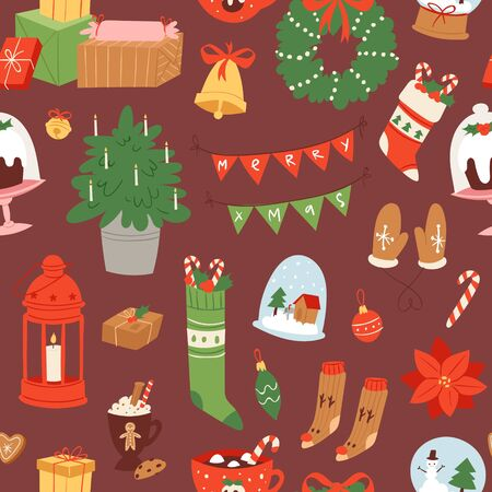 Merry christmas and winter holiday scandinavian objects cartoon seamless vector pattern. Christmas socks, gifts, candies, mistletoe leaves wreath and lantern, garland on dark wrapping background. Banque d'images - 133832677