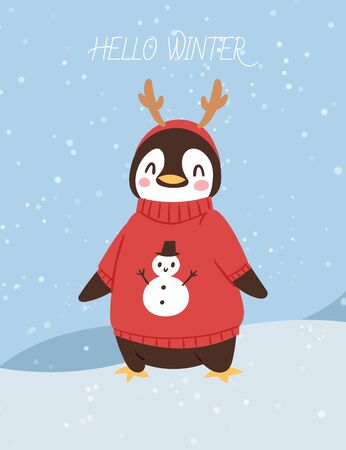 Cute christmas penguin cartoon vector illustration. Penguin in knitted sweater with snowman and horns. Postcard for the New year and Christmas. Hello winter lettering and snowing background.