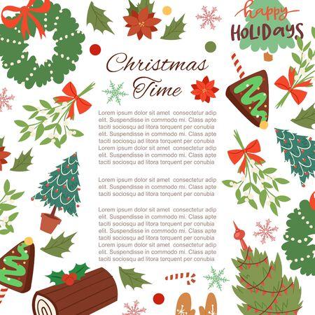 Illustration vectorielle de Noël cadre dessin animé. Fond de vacances d'hiver avec des branches de pin, des baies, une couronne de houx et de gui avec des rubans et des sapins. Cadre de Noël botanique avec typographie.