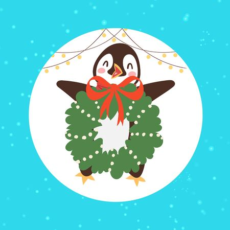 Merry Christmas penguin bird with mistletoe wreath vector illustration. Children s illustration with a winter penguin. Christmas cards, invitations, and party packs, paper craft with snowy background.