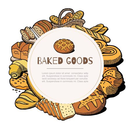Bakery bread and pastries poster sketch icons of bagel, pretzel, croissant, baguette and loaf, cake, baked goods vector illustration background. Baker shop, patisserie, cafe pastry shop poster.