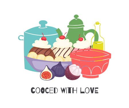 Cooked with love homemade cupcakes with cherry and cream, kitchen pots and figs isolated on white vector illustration. Cakes and pastry ingredients cooked and baked with love poster. Фото со стока - 138113975