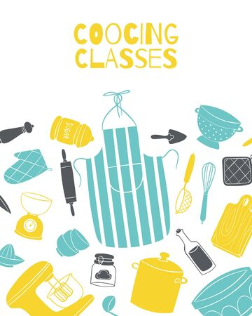 Cooking classes poster with kitchenware and pots on kitchen,board, chef cook apron vector illustration. Culinary school and cooks classes poster. Illustration