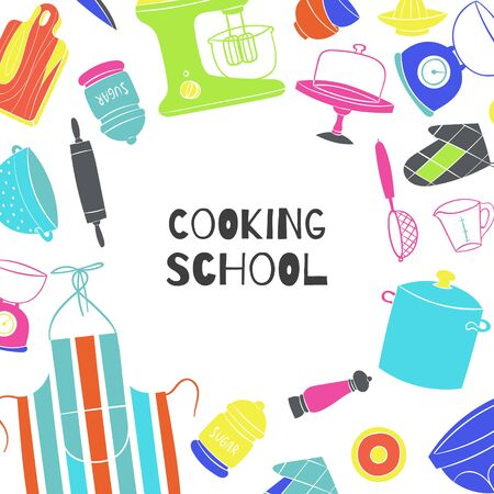 Cooking school poster with kitchenware, cooker and pots on kitchen,board, chef cook apron vector illustration. Best children cooks school background.