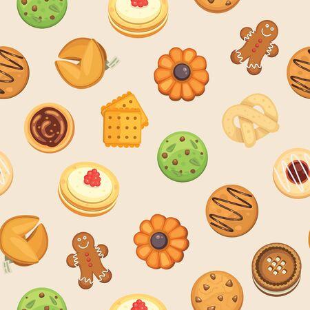 Biscotti con marmellata, pan di zenzero, biscotto con gocce di cioccolato, illustrazione vettoriale senza cuciture di biscotti fatti in casa. Sfondo di biscotti per confezionamento, corsi di cucina e banner per feste.