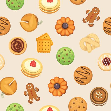 Cookies with jam, gingerbread, chocolate chip cookie, homemade biscuit seamless vector pattern illustration. Cookie background for wrapping, cooking classes and party banner.
