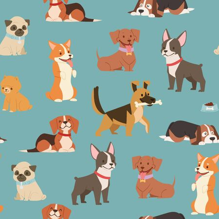 Dogs and puppies different breeds wrapping paper with husky, bulldog, schnuzer, spaniel vector seamless pattern illustration. Cartoon pets dogs background. Vettoriali