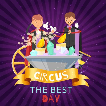 Children juggle with doves and crystals on circus party background vector illustration. Happy kids and juggling with magic sticks. Little boys circus party entertainment.