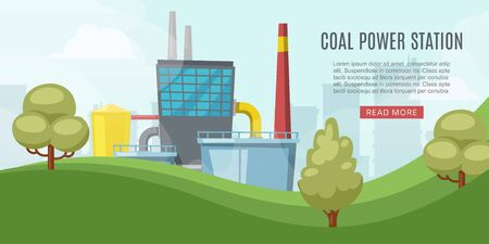 Coal power station, energy industry with towel, reactors, power lines vector illustration web banner. Coal energy generation related facilities web site.