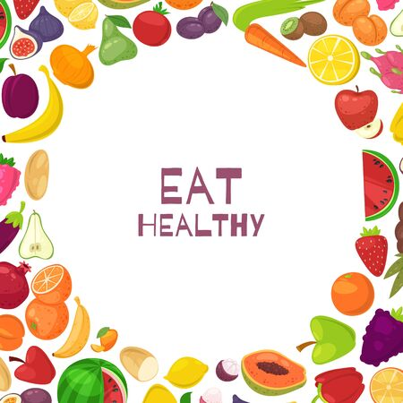 Fresh healthy fruits and vegetables eat healthy background with quote in white circle vector illustration. Healthy lifestyle or vegeterian fruits and veggies diet design.