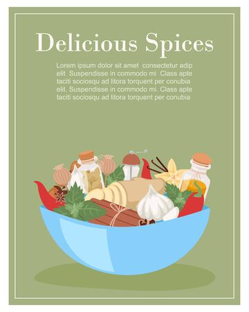 Fresh organic spices and herbs with aroma and flavor ingredient for food condiments cartoon vector illustration. Mint leaves, cloves, pepper and herbs, ginger poster with typography.