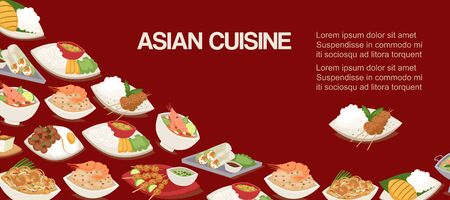 Asian, chinese or japaneese cuisine dishes and meal vector illustration. Asian food spicy shrimp soup, green papaya salad, fried noodles with cashew nuts and fresh lime, spicy green curry poster.