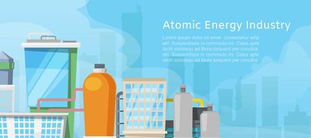 Atomic energy industry with low poly nuclear power station, reactors, power lines and nuclear energy generation related facilities vector illustration poster. Atomic energy city poster. Illustration