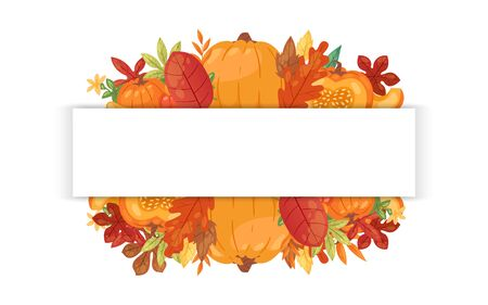 Autumn welcome banner with autumnal pumpkin, fallen leaves for thanksgiving day cartoon vector illustration. Fall season harvest pumpkin vegetable, orange maple foliage, acorn branches poster.
