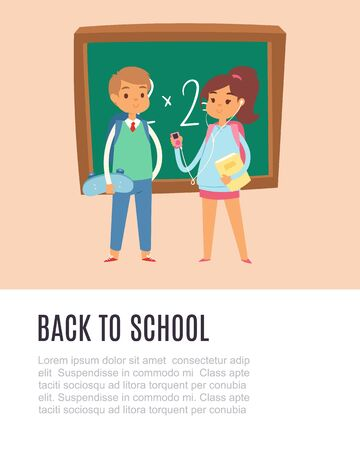 Back to school with schoolboy and schoolgirl standing at the blackboard vector illustration poster. Funny cartoon character girl and boy at school.