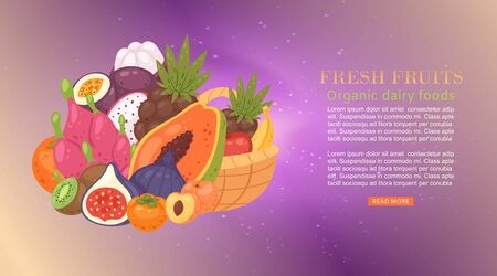 Fresh tropical fruit cartoon vector illustration with papaya, dragon fruit, carambola and lychee, fig, guava. Fresh fruits banner for food, juice, vegetarian dessert on sparkling background. Çizim