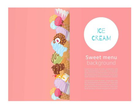 Ice creams sweet menu of waffle cones with assortment of scoops dessert poster vector illustration. Sweet menu and desserts ice cream meals in fast food cafe banner. Ilustrace