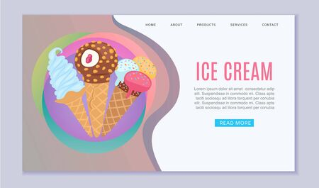 Ice creams waffle cones with assortment of scoops dessert web vector template illustration. Sweets and desserts ice cream meals for fast food or cafe website.
